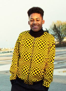 Ali, adult bomber jacket, Yellow Check, unisex, limited edition