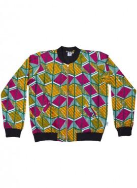 Ali, bomber jacket, Green Geometric, unisex