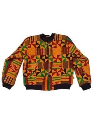 Ali, quiltet bomber jacket, Dark Yellow Kente - Kwadusa.com