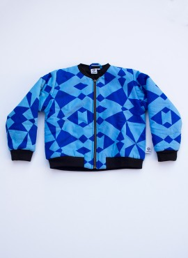 Fatma, padded bomber jacket, graphic blue, limited edition