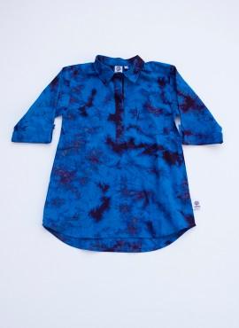 Bella, skjortekjole, batik, blå