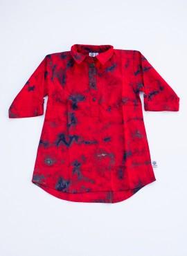 Bella, shirt dress, batik, red