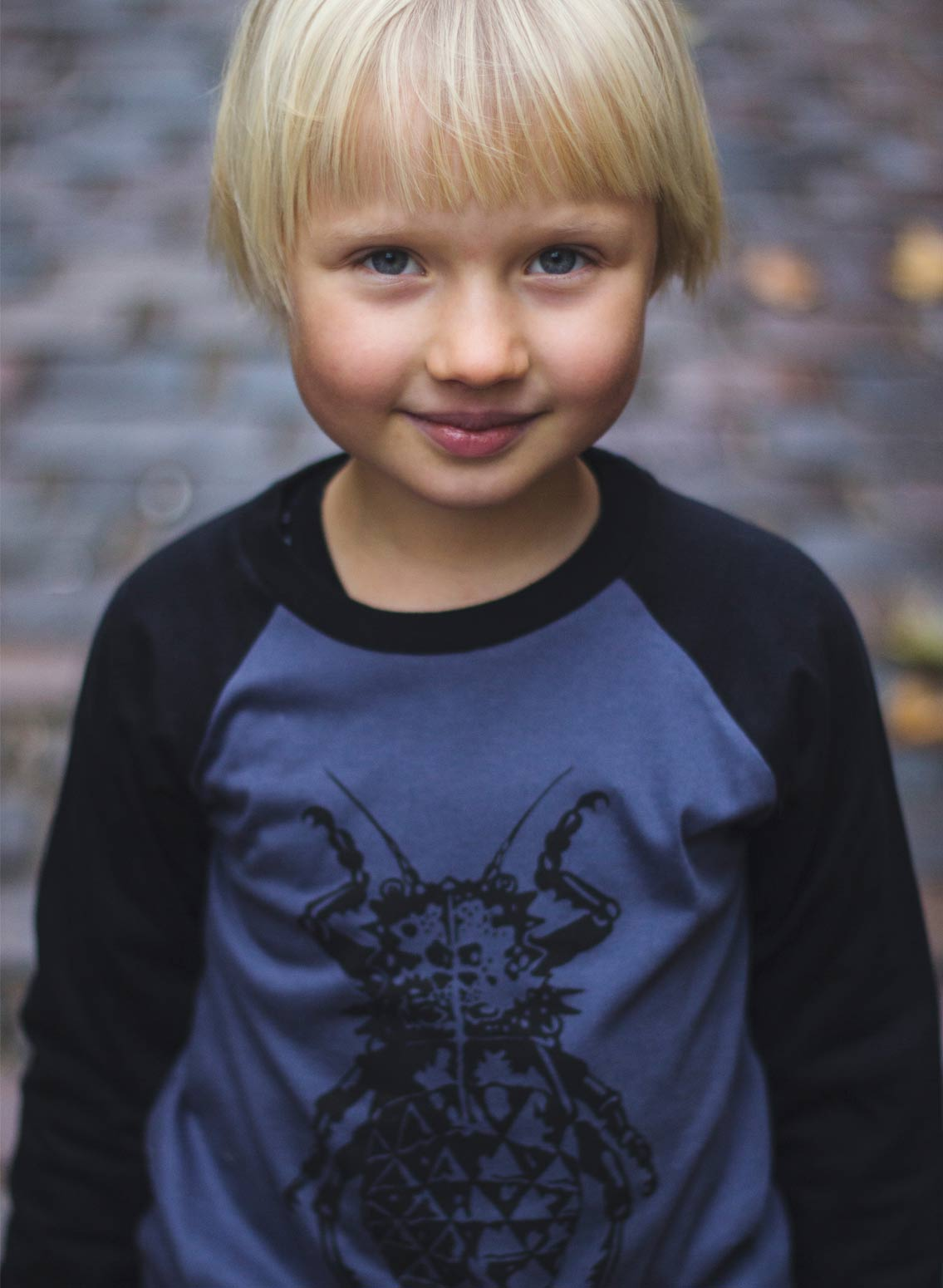 Bobo, øko, T-shirt, LS, gråblå/sort, bille