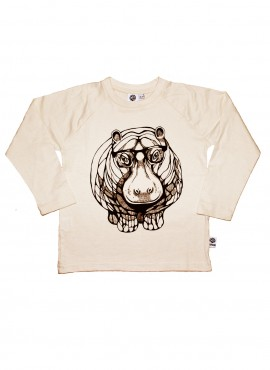 Bobo, øko, T-shirt, LS, råhvid, flodhest