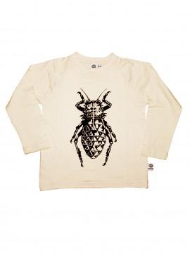 Bobo, øko, T-shirt, LS, råhvid, bille