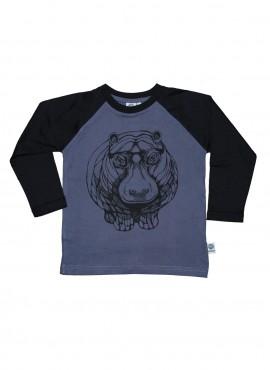 Bobo, øko, T-shirt, LS, gråblå/sort, flodhest