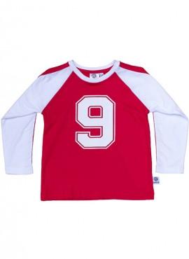 Bobo, øko, T-shirt, LS, rød/hvid, No 9