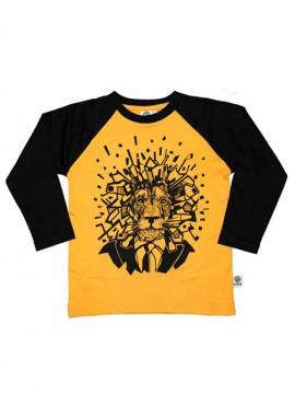 Bobo, øko, T-shirt, LS, gul/sort, løve