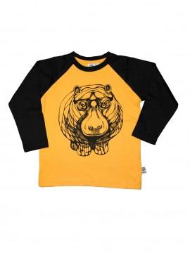Bobo, øko, T-shirt, LS, gul/sort, flodhest