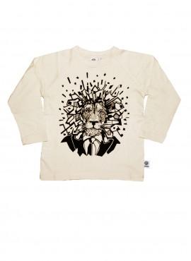 Bobo, øko, T-shirt, LS, råhvid, løve