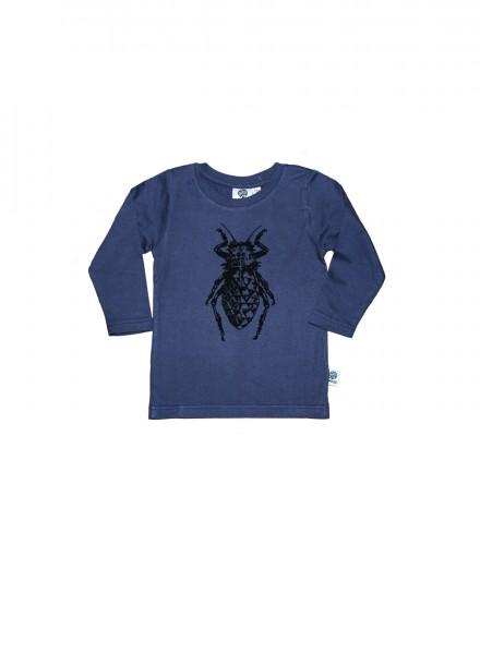 Baby, øko, t-shirt, langærmet, blågrå, bille