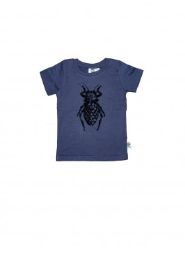 Baby, organi, t-shirt, short-sleeved, charcoal, beetle