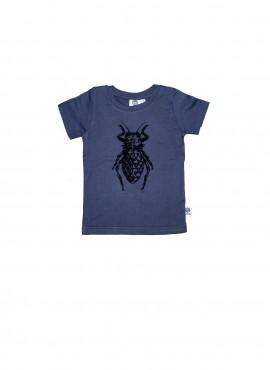 Baby, øko, t-shirt, kortærmet, blågrå, bille