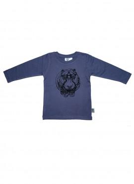 Baby, øko, t-shirt, langærmet, gråblå, flodhest