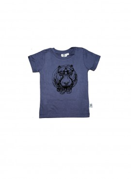 Baby, organic, t-shirt, short-sleeved, charcoal, hippo