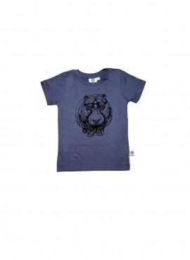 Baby, øko, t-shirt, kortærmet, blågrå, flodhest