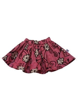 Doris, nederdel, Flowers in Dark Pink