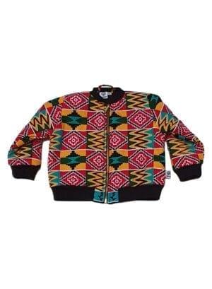Fatma, foret bomber jacket, Red Kente - Kwadusa.com