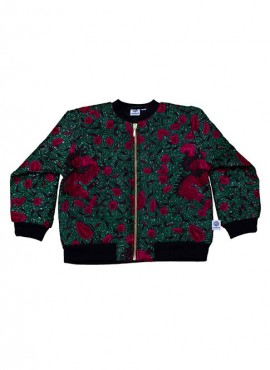 Fatma, quiltet bomber jacket, Pink Flowers in Green