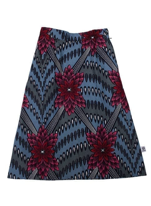 Gloria, skirt, Red/Pink Flower in Light Blue