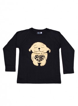 Bobo, øko, T-shirt, LS, sort, Happy Heart i guld