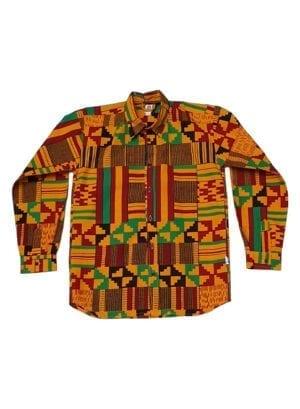 Henry, Dark Yellow Kente, langærmet skjorte - Kwadusa.com