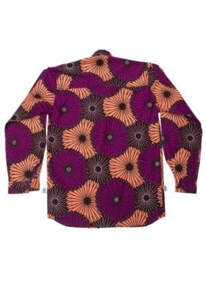 Henry, long-sleeved shirt,Purple and Coral Flowers
