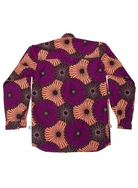 Henry, langærmet skjorte,Purple and Coral Flowers