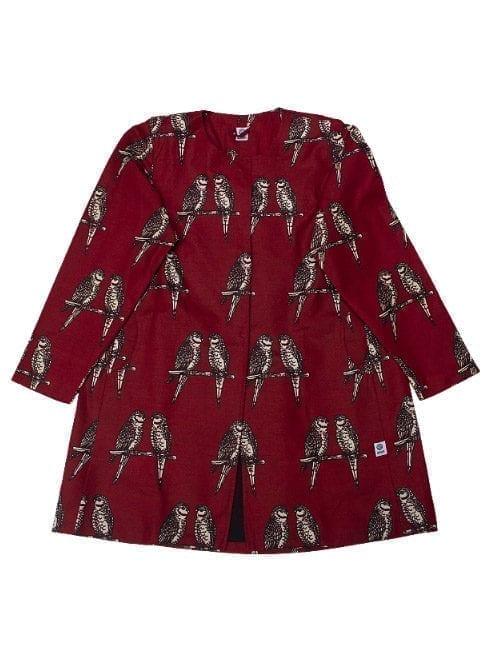 Ilona, coat, Maroon Birds