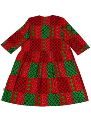 Klara oversize kjole Strong Red Kente