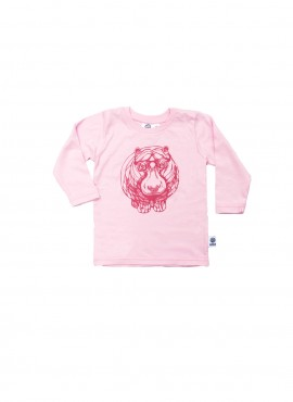 Baby, organic, t-shirt, long-sleeved, hippo in dark pink