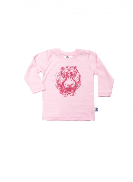 Baby, øko, t-shirt, langærmet, lyserød, flodhest i pink