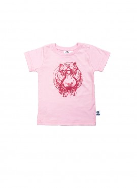 Baby, organic, t-shirt, short-sleeved, pink, hippo in dark pink