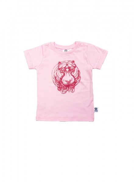 Baby, øko, t-shirt, kortærmet, lyserød, flodhest i pink