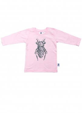 Baby, organic, t-shirt, long-sleeved, pink, beetle in grey