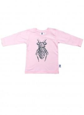 Baby, øko, t-shirt, langærmet, lyserød, bille i grå