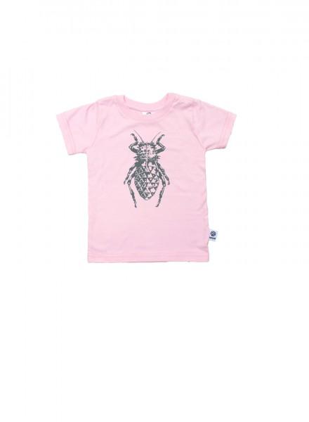 Baby, øko, t-shirt, kortærmet, lyserød, bille i grå