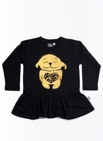 Donna, øko, T-shirt, LS, sort, Happy Heart i guld