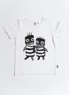 T-shirt, øko, hvid, Bee friends