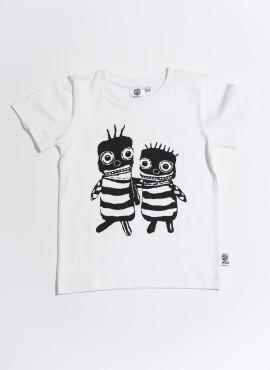 T-shirt øko hvid bee friends