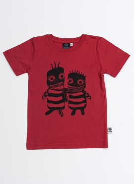 T-shirt, øko, rød, Bee friends
