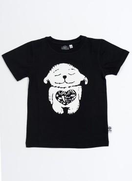 T-shirt øko black happy heart hvid