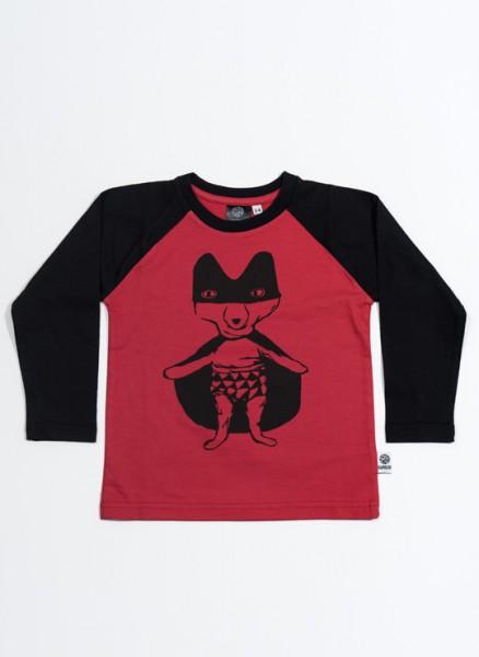 Bobo, øko, T-shirt, LS, rød/sort, Superræv