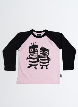 Bobo, øko, T-shirt, LS, lyserød/sort, Bee friends