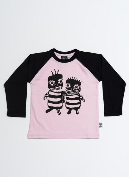 Bobo, øko, T-shirt, LS, lyserød/sort, Bee friends