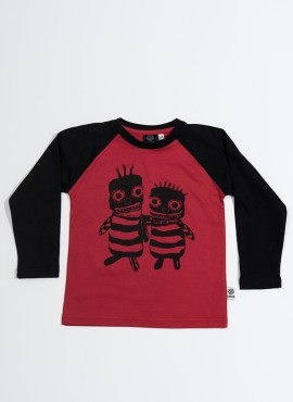 Bobo, øko, T-shirt, LS, rød/sort, Bee friends