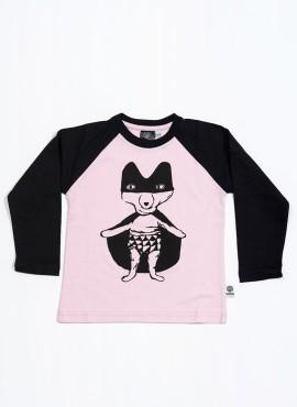 Bobo, organic, T-shirt, LS, light pink/black, Super Fox