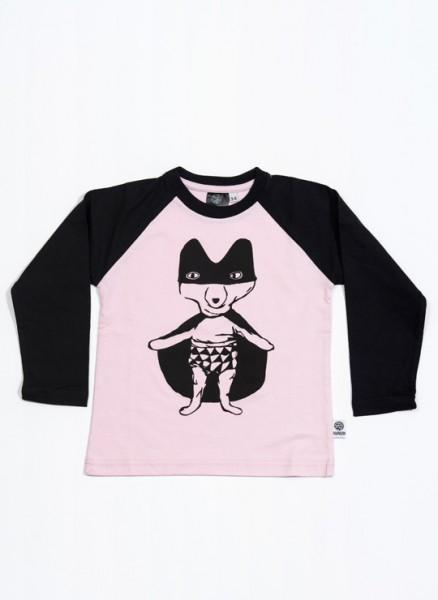 Bobo, øko, T-shirt, LS, lyserød/sort, Superræv