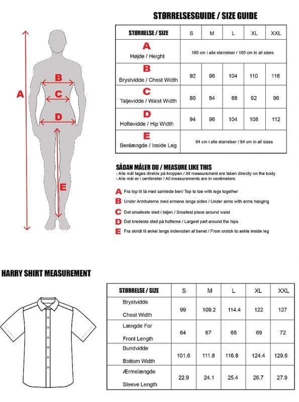 Size Guide Harry Skjorter