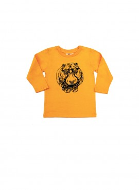 Baby, organic, t-shirt, long-sleeved, yellow, hippo